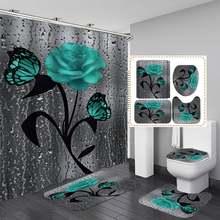 4 шт водонепроницаемые занавески для душа с рисунком розы