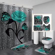 Shower Curtain Bath-Screen Geometric Printed Waterproof 4pcs for Gifts Navidad Rose-Pattern