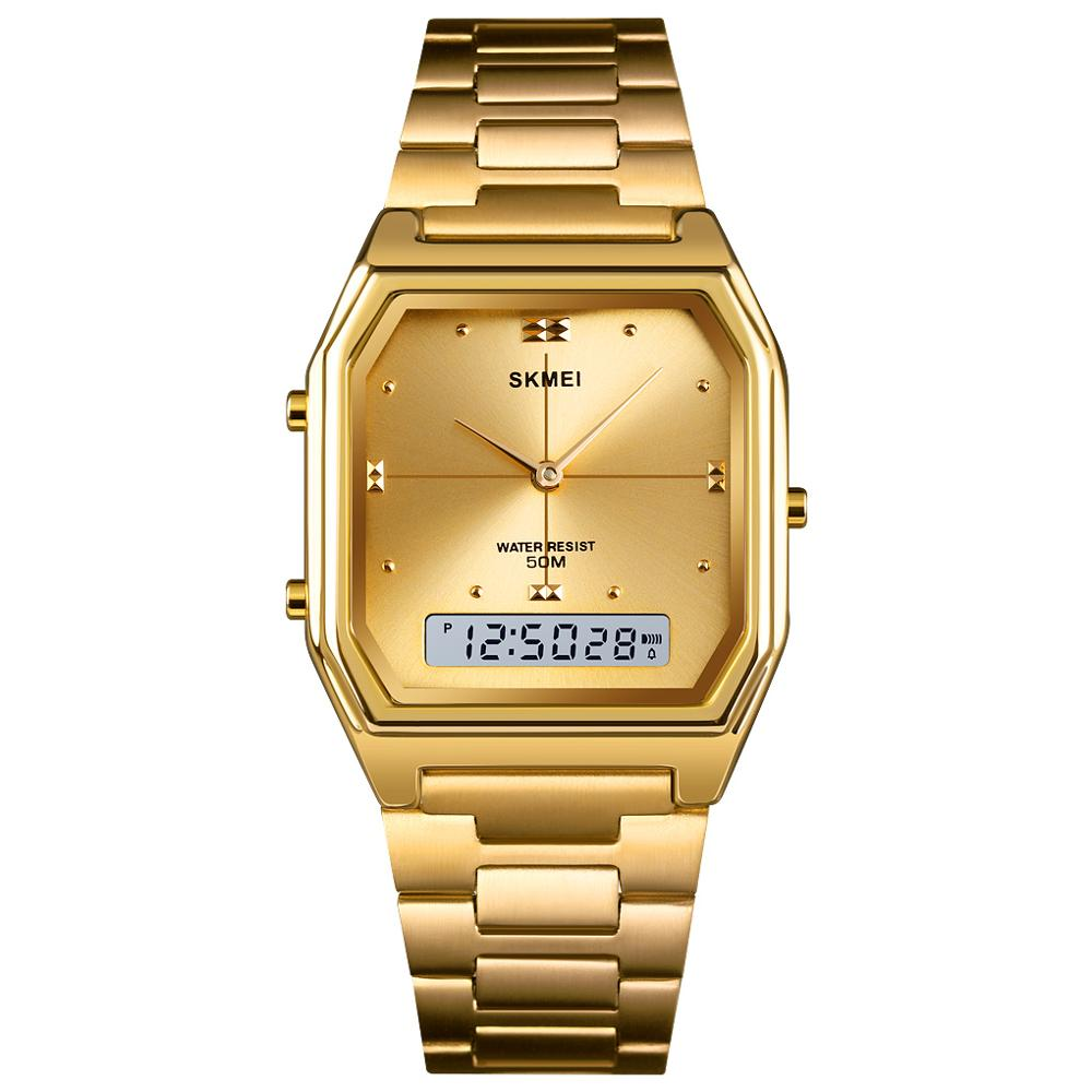 SKMEI Gold Women's Digital Watches Fashion Electronic Waterproof Wrist Watch Stainless Steel Ladies Clock Relogio Feminino 1612