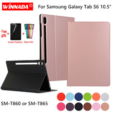 For Samsung Galaxy Tab S6 T860 T865 10.5 inch case original PU leather Stand tablet TPU Cover for SM-T860 Coque+Film+Pen
