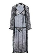 זברה דפוס ניגודיות Trim Robe וחזייה סט מזדמן הלבשת Mesh Nightwear אלגנטי הלבשה תחתונה ספא חלוק רחצה