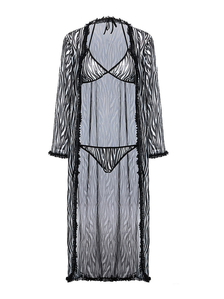 Zebra Pattern Contrast Trim Robe and Bra Set Casual Sleepwear Mesh Nightwear Elegant Lingerie Spa Bathrobe