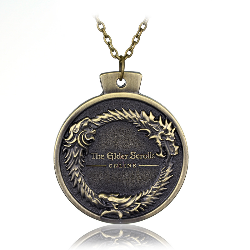 popular PS3 PS4 RPG game The Elder Scrolls necklace bethesda dragon carving vintage Retro round pendant men jewelry accessories image