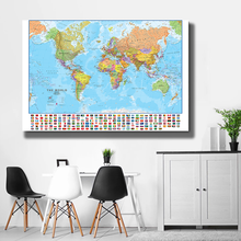 150x100cm The World Political Map with National Flags Foldable Canvas Painting Wall Poster Classroom Home Decor School Supplies
