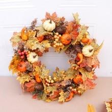 50cm Künstliche Kürbis Kranz Herbst Ernte Maple Leaf Front Tür Girlande Thanksgiving Dekoration Halloween Partei Liefert
