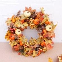 50cm artificial abóbora grinalda outono colheita maple leaf porta dianteira guirlanda decoração de ação de graças fontes festa de halloween