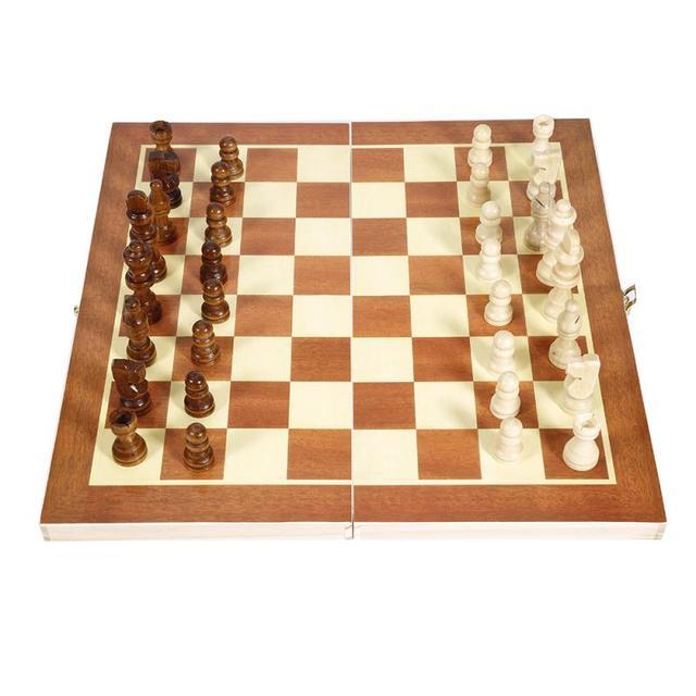 Drôle pliant 34cm X 34cm en bois International échecs ensemble pliable jeu de société Portable jeux de voyage de société 1