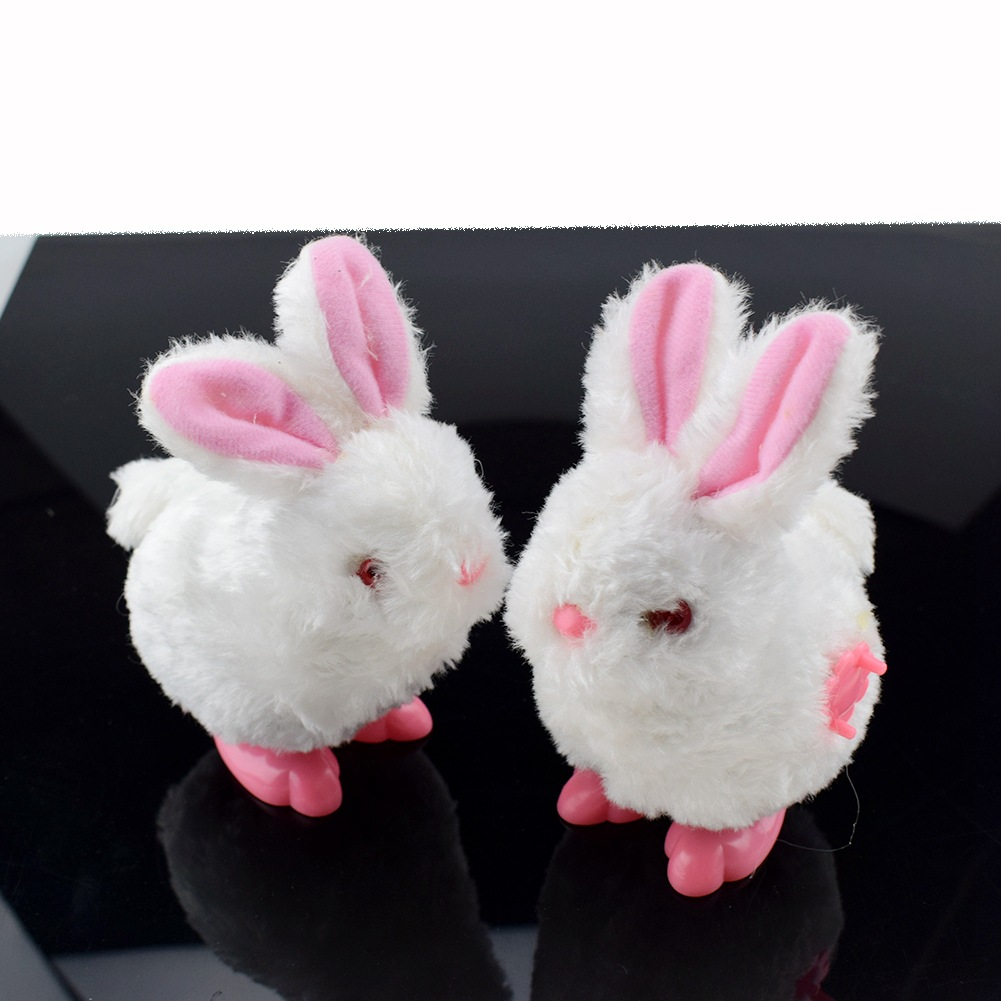 Large Size Winding Spring Jumping Little Bunny Wind-up Toy Plush Model Bunny Stall Good Supply Of Goods