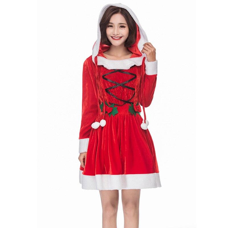 Рождественское платье принцессы; рождественские костюмы с длинными рукавами в стиле Лолиты; Disfraz; красная шляпа; Одежда для взрослых женщин;