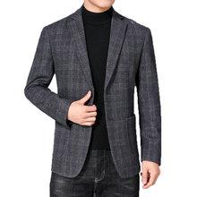 Клетчатый шерстяной Блейзер для мужчин умный повседневный костюм
