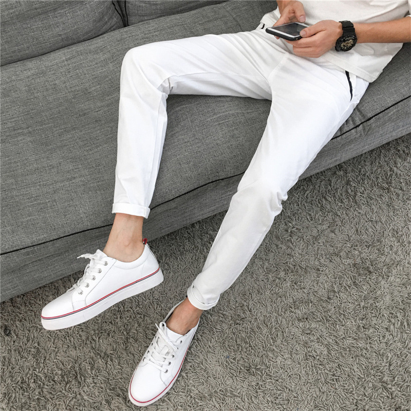 Spring MEN'S Casual Pants Korean-style Fashion Elasticity Slim Fit Skinny Pants Teenager Elasticity Pencil MEN'S Long Trousers