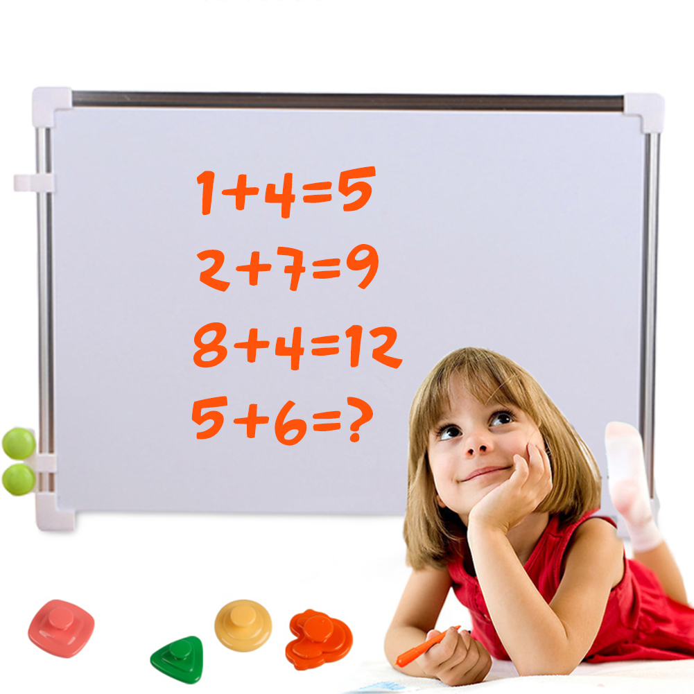 Whiteboard  Double Side Mini Drawing White Board Office School Writing Board With Pen Magnets Buttons Kids Message Drawing Board