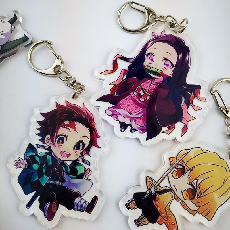 Anime Demon Slayer Kimetsu No Yaiba Kamado Tanjirou Cosplay Prop Keychain Kamado Nezuko Acrylic Lovely Key Chain Keyring