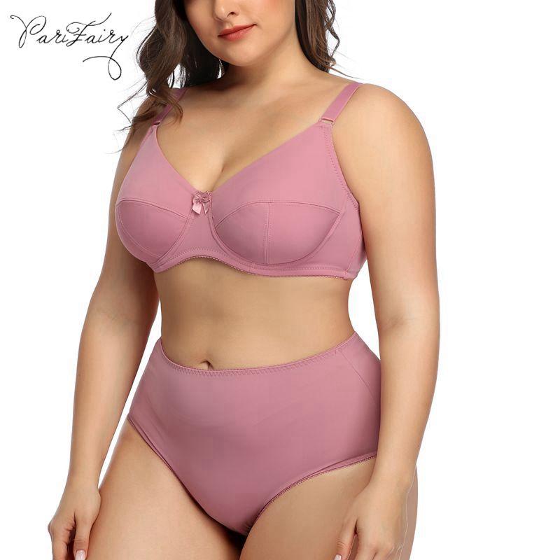 PariFairy Plus Size Bra And Panties Set 5XL 6XL Women Sexy Lingerie Set Push Up Underwired Bralette Underwear Brassiere