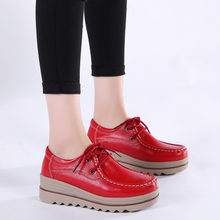 Spring High Quality Leather Casual Flat Shoes Women
