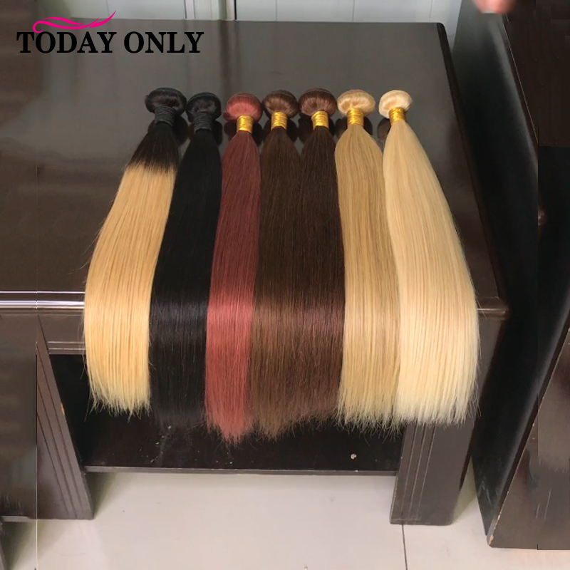 TODAY ONLY Malaysian Straight Hair Bundles 1/3/4 Bundles #1B/2/4/27/33/613 Remy Hair Extensions Human Hair Color Weave Bundles image