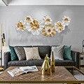 Tamanho grande europa moderna parede de ferro pendurado decoração para sala estar tv fundo parede ferro ouro 3d decoração flor habitacion
