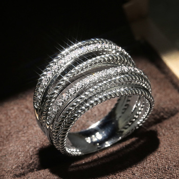 Huitan luksusowy krzyż ślubne obrączki ślubne specjalnie zainteresowany olśniewający kryształ CZ kamień prosty stylowy kobiety Trendy biżuteria pierścionki tanie i dobre opinie CN (pochodzenie) Mosiądz Cyrkonia GEOMETRIC Zgodna ze wszystkimi F605 F820 Z wystającym oczkiem moda Ślub