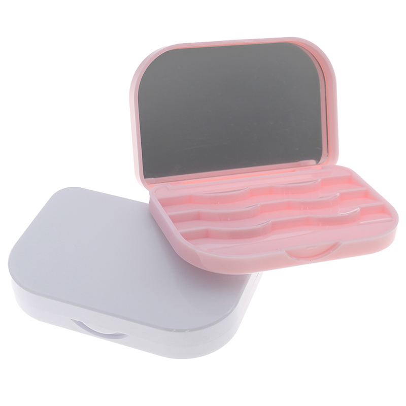 1Pcs Plastic False Eyelash Storage Box Makeup Cosmetic With Mirror Case Organizer  Travel Cosmetics Tool White/Pink