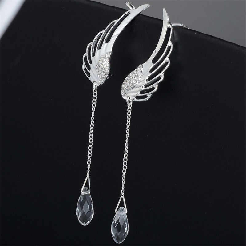 Brincos asas de anjo banhados à prata, brincos com cristal, pingente pendurado na orelha, brincos femininos, boêmio, joias, novo, 2019