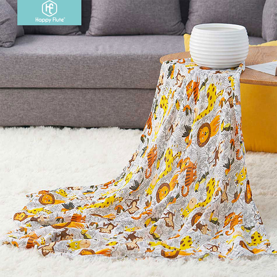 Happy Flute  Muslin Blankets Swaddle 100% Cotton Soft Newborn  Baby Blanket Receiving Blankets