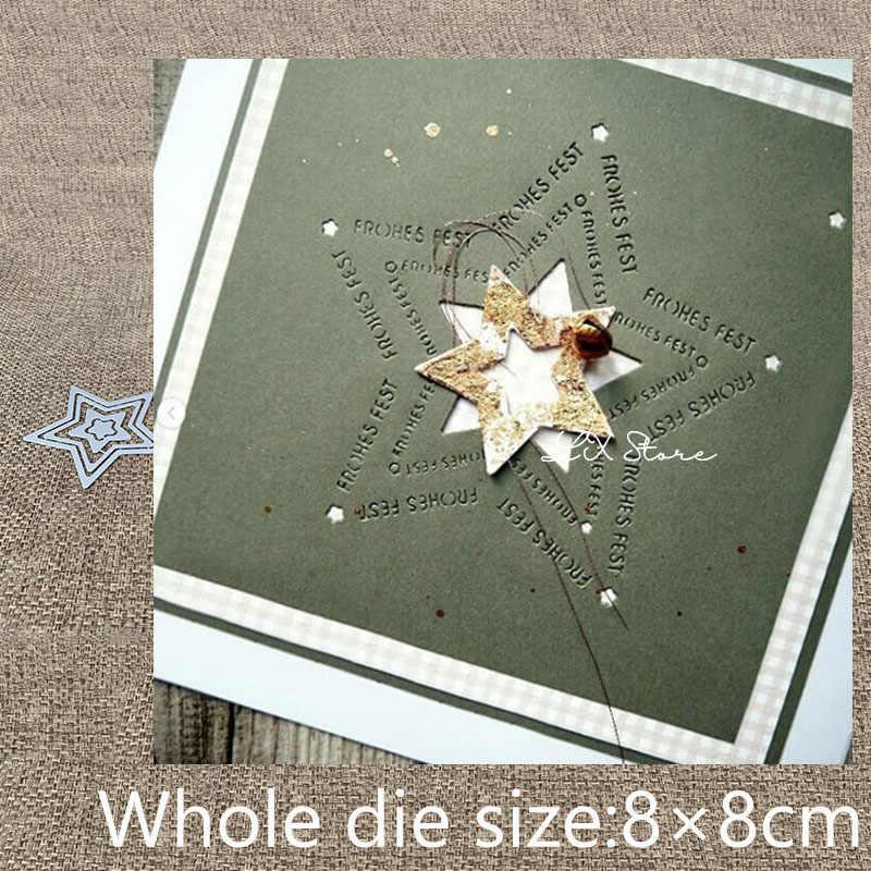 Nuevo diseño de Metal de corte de morir cortes 4 Uds alemán feliz vacaciones estrella álbum de tarjeta de papel de repujado morir cortes