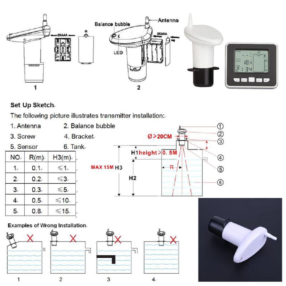 Купить с кэшбэком DishyKooker Ultrasonic Water Level Sensor Transmitter Indoor Receiver