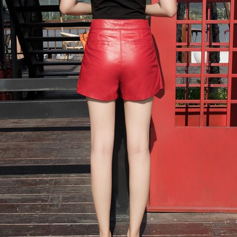 Women Fashion Asymmetrical Golden Button Skirt With Shorts Genuine Leather Sheepskin Zipper Fly Punk Style Sexy Wide Leg Shorts