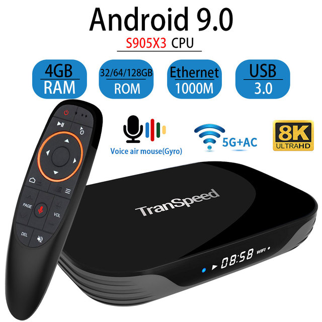 Transpeed X3 空気アンドロイド 9.0 テレビボックス 8 18k 4 18k超xdr youtube 1000 メートルwifi amlogic S905X3 4 ギガバイト 32 ギガバイト 64 ギガバイト 128 ギガバイトtvボックス