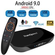 Transpeed X3 Không Android 9.0 TV Box 8K 4K Ultra XDR Youtube 1000M Wifi Amlogic S905X3 4GB 32GB 64GB 128GB TV Box