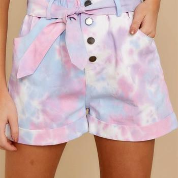 Casual Tie-dyed Lace up Woman Shorts High Waist Ruffle Elegant Button Shorts Elastic Zipper Pocket Summer Outdoor Female Shorts ruffle trim self tie waist shorts