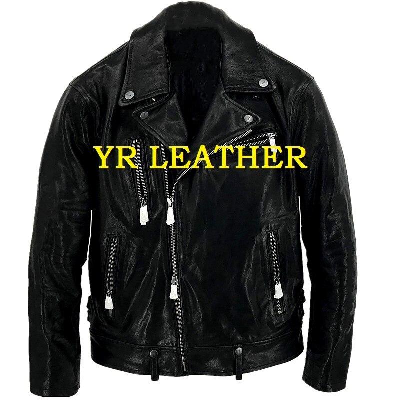 Free Shipping.Pakistan Tanning Sheepskin.Luxury US Classic Biker Style Leather Jacket,fashion Slim Genuine Leather Coat,