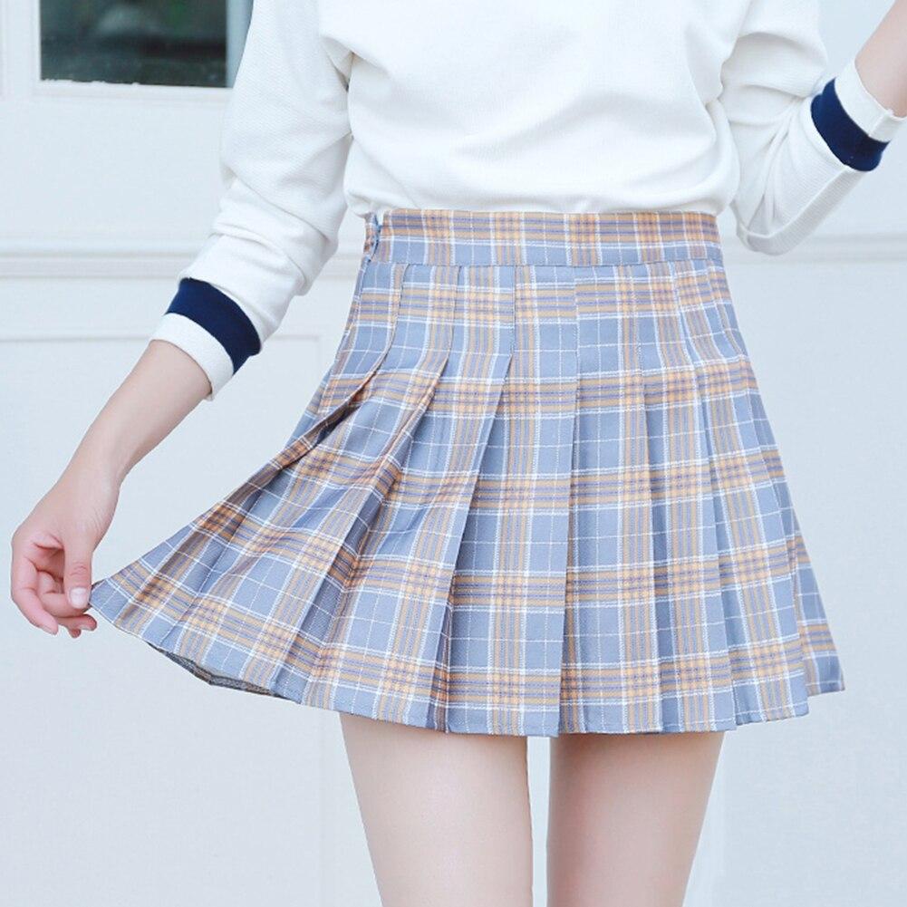 Women Skirt Sweet Style High Waist Chic Stitching Skirts Summer Student Pleated Skirt Women Cute Sweet Girls Dance Skirt