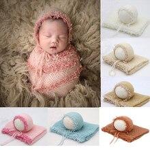 Реквизит для фотосъемки новорожденных одеяло мохеровое одеяло пеленание фотография шляпа фон детские аксессуары для фотосессии