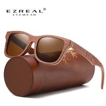 Солнечные очки EZREAL в стиле ретро UV400 для мужчин и женщин, зеркальные квадратные солнечные аксессуары с бамбуковым покрытием, с деревянными дужками, для скейтборда