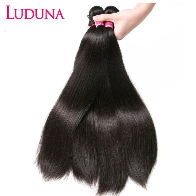 Mechones de pelo liso Luduna, mechones de pelo brasileño, extensiones de cabello humano Remy, 1/3/4, ofertas de extensiones, tejido doble dibujado