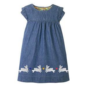 2021 Summer Dress For Girl Baby Clothes Blue And Pink Dresses WIth Lovely Rabbit