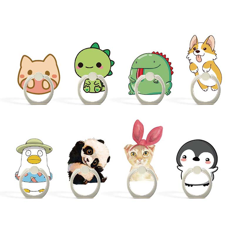 8 Styles Cute Panda Dog Animals Phone Holder Ring Mobile Phone Stand Cookies Finger Phone Ring Holder Support Celular