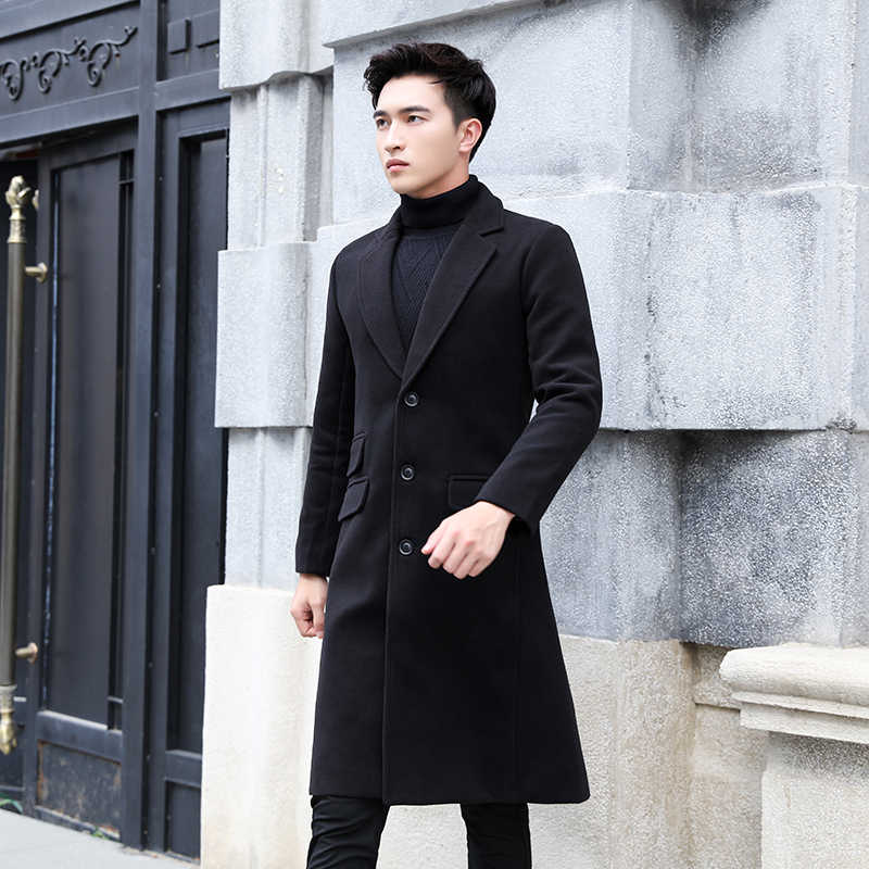 Ropa de hombre 2019 Otoño Invierno moda larga gabardina