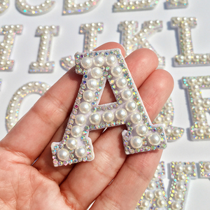 New!A-Z Pearl Rhinestone English Letter Patches Sew on Stickes Applique 3D Handmade Beaded Diy Cute