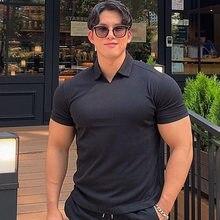 Camisa Polo deportiva con cuello en V para verano, camisa muscular con solapas de color sólido, pantalones redondos, camisetas de fitness adelgazantes y mangas cortas