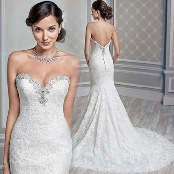 Sweetheart Hot Sale Custom vestido de noiva Backless Beading High Quality Mermaid Bridal Gown 2018 mother of the bride dresses