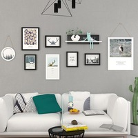 8 Pcs/Set Nordic Elk Living Room Decorative Painting Sofa Background Wall Photo Frame Hanging Wood Picture Frame Mural Shelf 1 S