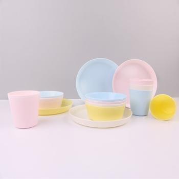 12 sztuk plastikowe naczynia obiadowe zestaw nadaje się do wielokrotnego użytku BPA za darmo 4 kubki 4 miski i 4 płyty nadaje się dla małych dzieci dzieci dzieci piknik tanie i dobre opinie CN (pochodzenie) Tradycyjny chiński Stałe Ekologiczne Zestawy naczyń stołowych