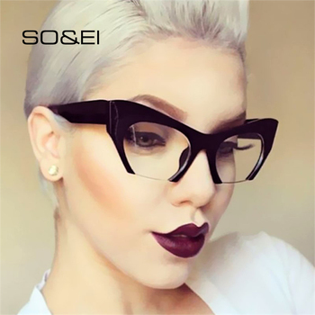 SO&EI Fashion Retro Half frame Cat eye Women Glasses Frame Can Be Equipped with Myopia Prescription Lens Men Glasses Frame frame free glasses frame with magnet clip film myopia gray glasses lens rimless frame men and omen sunglasses frame no border
