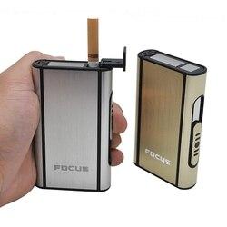 FOCUS aluminium kieszonkowy papierośnica automatyczne otwieranie srebrny Cigarete uchwyt skrzynki 8 sztuk papierosy gadżety dla mężczyzn palacz