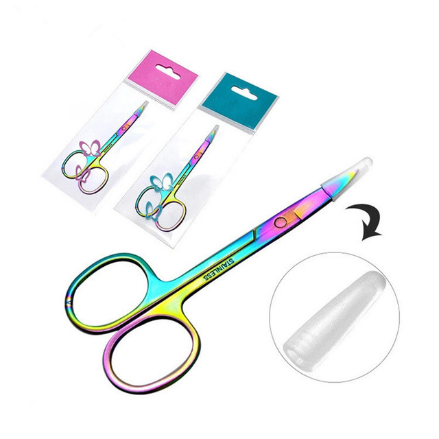 Colorful Chameleon Curved Head Eyebrow Scissors Eyebrow Manicure Scissors Cutter Nail Makeup Tool Eyebrow Scissor