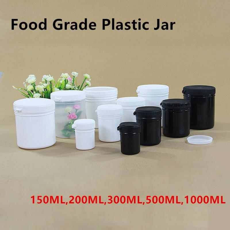 Высококачественные пустые пластиковые банки для пищевых косметических кремов, контейнер без BPA 150 мл, 200 мл, 300 мл, 500 мл, 1000 мл