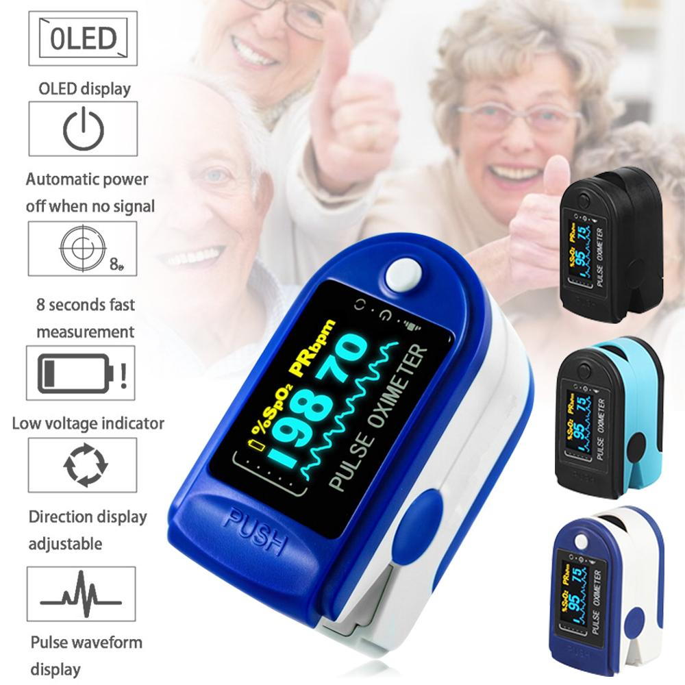 LED Infrared Fingertip Pulse Oximeter Portable Blood Oxygen SpO2 Monitor With Lanyard Home Family Pulse Oxymeter