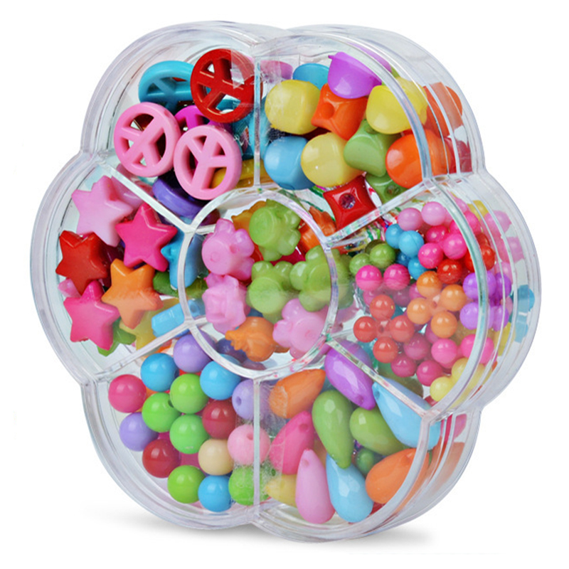 Kids Girls Colorful Acrylic Beads Set With Box Toy For Jewelry Making DIY Craft Bracelets Necklaces Educational Toys